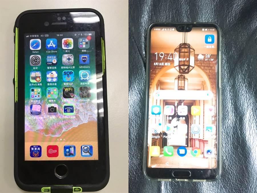 警用載具(圖左)與一般手機(圖右)外型相同,不過警用手機裡密密麻麻都是各項警用資訊查詢的APP。(吳家詮攝影)