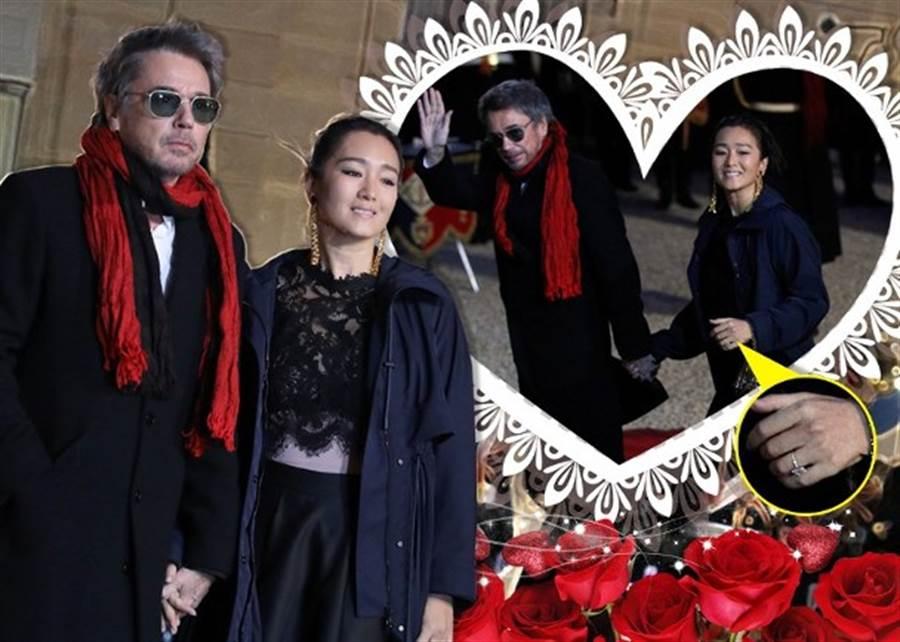 鞏俐今年3月與老公出席外交晚宴,無名指上鴿子蛋超閃。(取自東網)