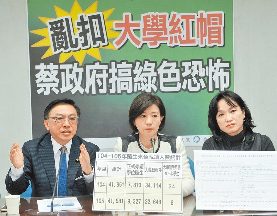 2017年3月6日,國民黨立委針對一中承諾書事件,批教育部亂扣大學紅帽子。(本報系資料照片)