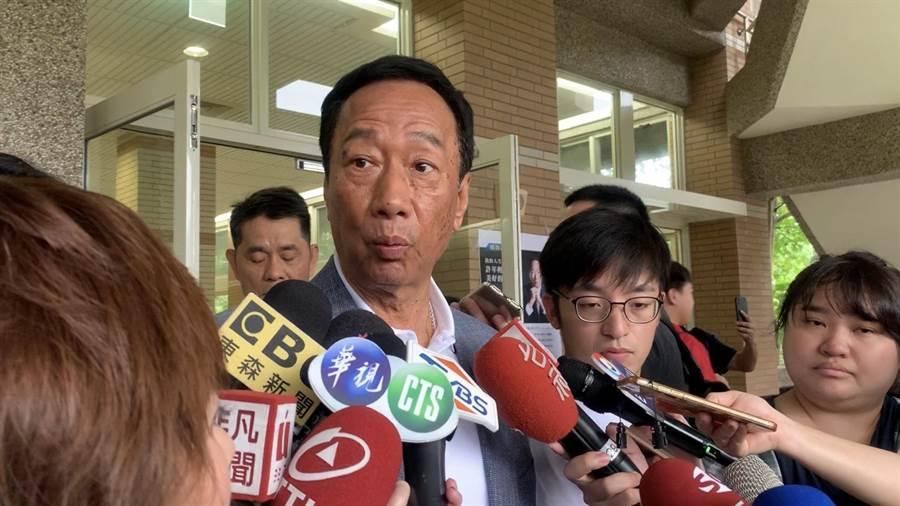 鴻海集團總裁、國民黨總統初選參選人郭台銘今受邀至國立東華大學演講。(張祈攝)