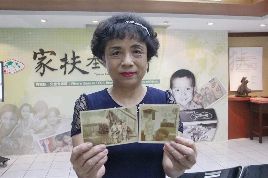 6旬美華阿嬤幼時困頓,家扶一路照顧成年,她帶著舊照片要找尋當年的社工老師謝恩圓夢\ (陳淑芬攝)