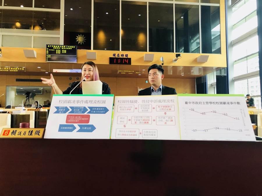 台中市議員賴佳微(左)、蔡耀頡關心市府對於校園霸凌的因應方案。(盧金足攝)
