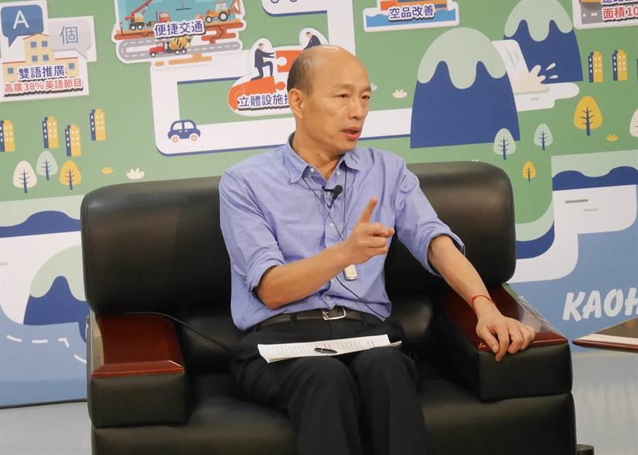 高雄市長韓國瑜17日接受旺旺中時媒體集團專訪。(陳君碩攝)