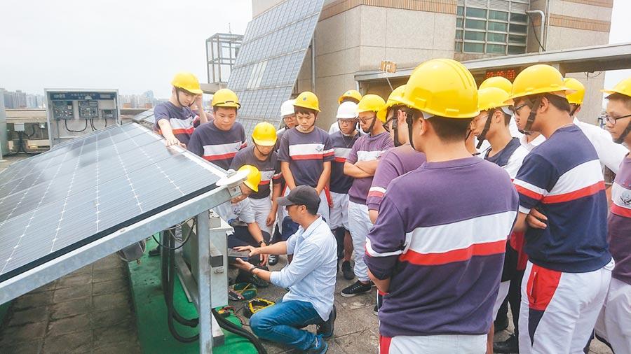 治平高中學生在健行科大太陽光電基地現場實際操作。(校方提供)