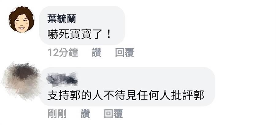 亞洲警察學會秘書長葉毓蘭在胡幼偉文章下留言。(圖/翻攝自胡幼偉臉書)
