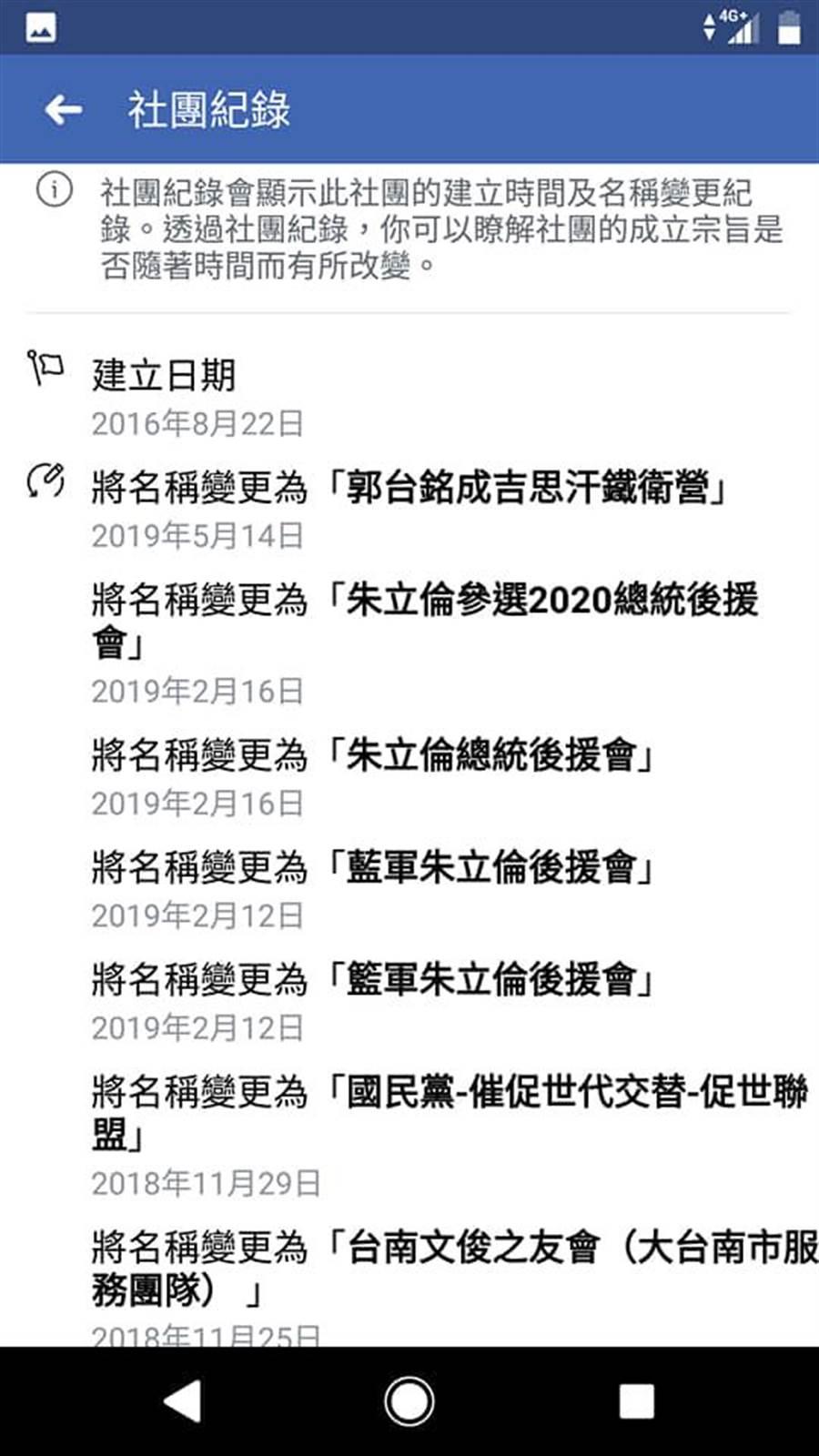 有兩個後援會原本是挺台中市長盧秀燕與前新北市長朱立倫的,也分別在4月17日及5月14日改名成「郭台銘總統後援會」及「郭台銘成吉思汗鐵衛營」。(韓國瑜後援會)