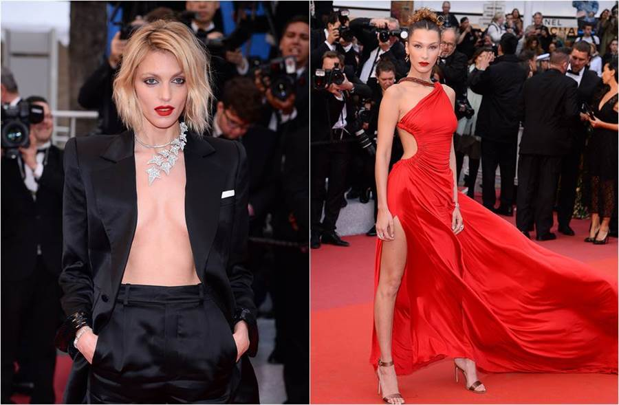波蘭超模安嘉魯貝克裸上身真空上陣(圖左),22歲的美國新生代模特兒貝拉哈蒂德更是辣開高衩,放風邪惡地帶。(圖/達志影像)