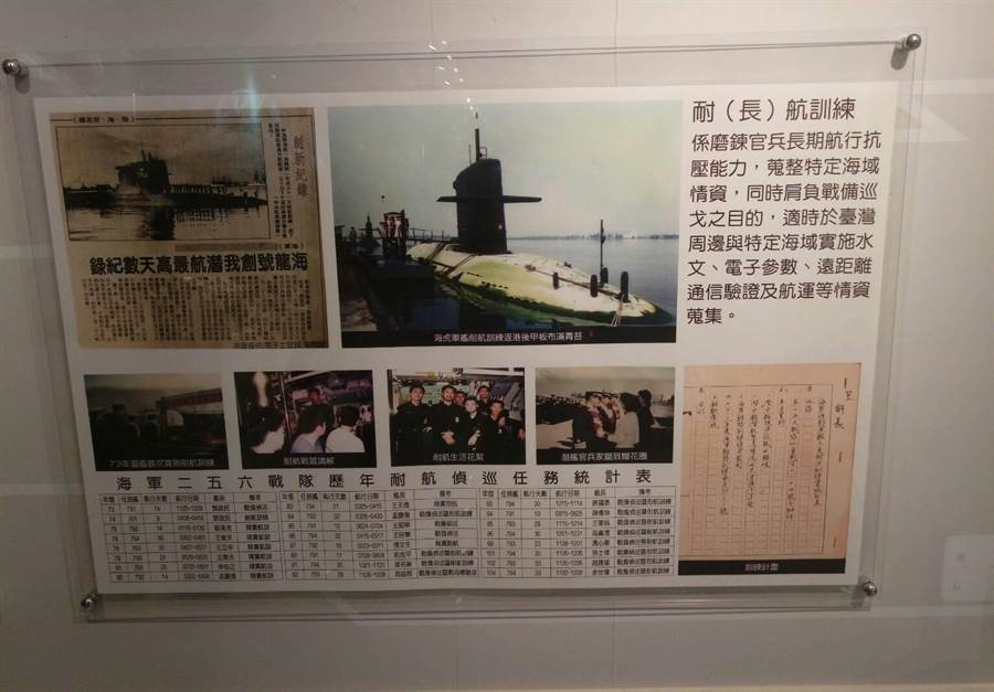 海軍256戰隊隊史館紀錄潛艦歷次耐航訓練。呂昭隆翻攝256隊史館。