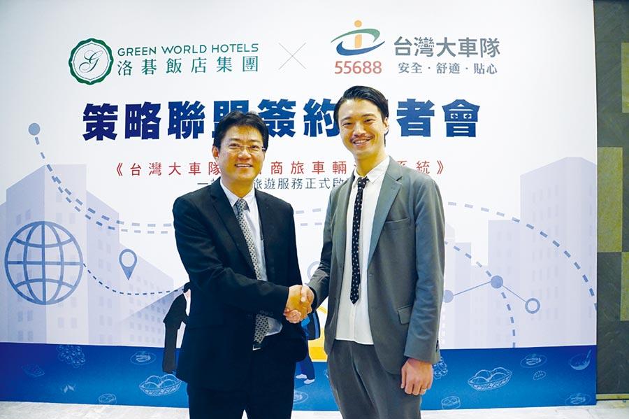 洛碁實業營運長深井洋平(右)與台灣大車隊營運長周恆倫(左)。圖/姚舜