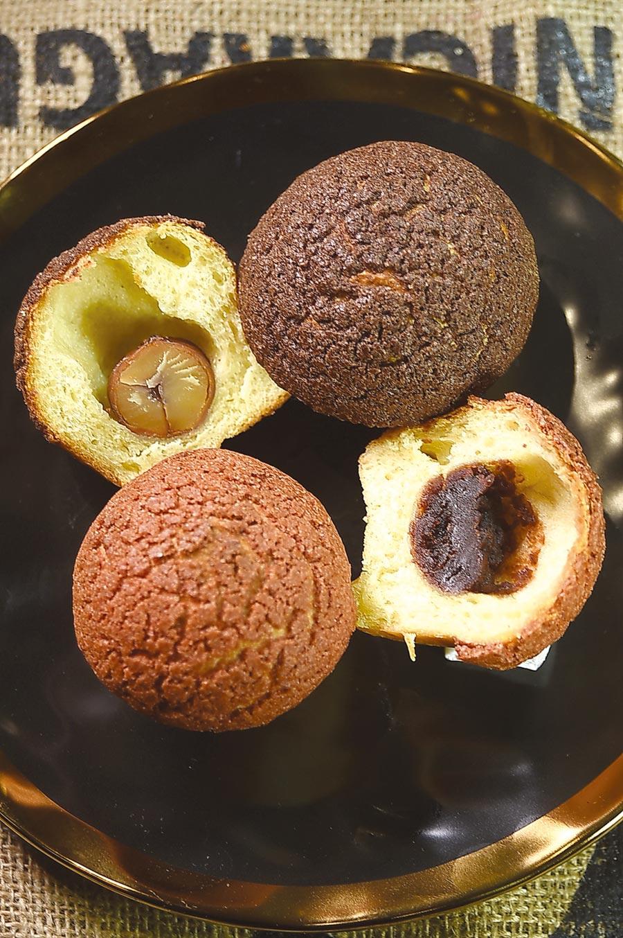 蘑菇麵包中各自有餡,〈紅蘑菇〉內餡是紅豆沙,〈黑蘑菇〉內則包著一整顆栗子。圖/姚舜
