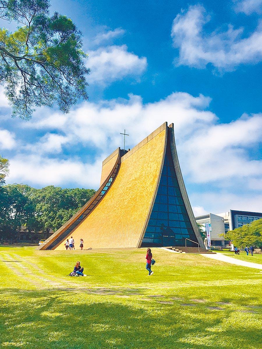 貝聿銘留在台灣的作品,台中東海大學路思義教堂。(台中市文資處提供)
