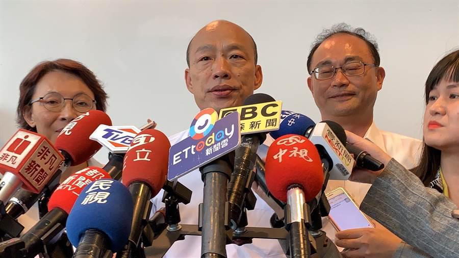 高雄市长韩国瑜今针对出境管制延长,表示不乐见。(柯宗纬摄)