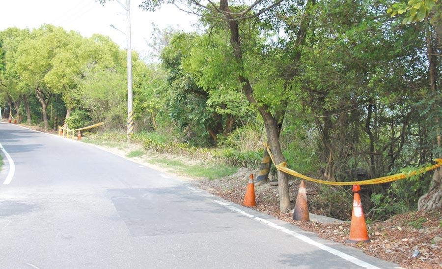 高雄市崗山之眼出入道路的邊坡滑落,民進黨立委邱志偉爭取經費修繕。(林瑞益翻攝)