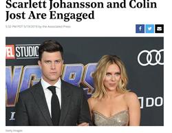 「黑寡婦」史嘉蕾梅開三度!宣布與SNL編劇訂婚