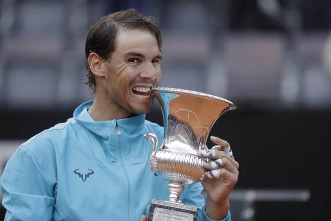 納達爾贏得生涯第9座羅馬大師賽冠軍。(美聯社)