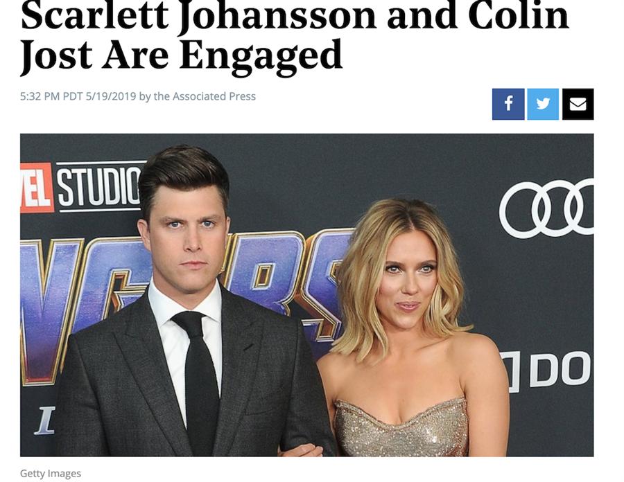 """""""黑寡妇""""史嘉蕾梅开三度 宣布与SNL编剧订婚"""
