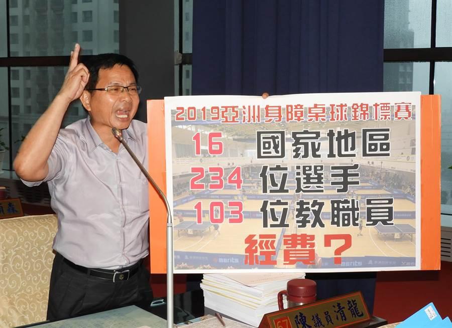 市議員陳清龍今天為「2019亞洲身障桌球錦標賽」請命,抨擊運動局淪為身障運動絆腳石。(陳世宗攝)