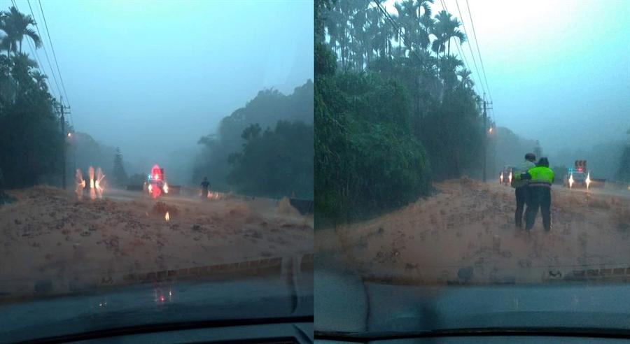 埔里國6癱瘓,四處土石流 網:人差點被沖走。(翻攝自 爆料公社)