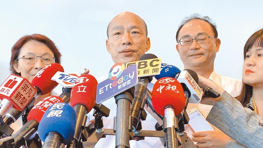 高雄市長韓國瑜19日針對《國家機密保護法》修法出境管制延長,表示不樂見。(柯宗緯攝)