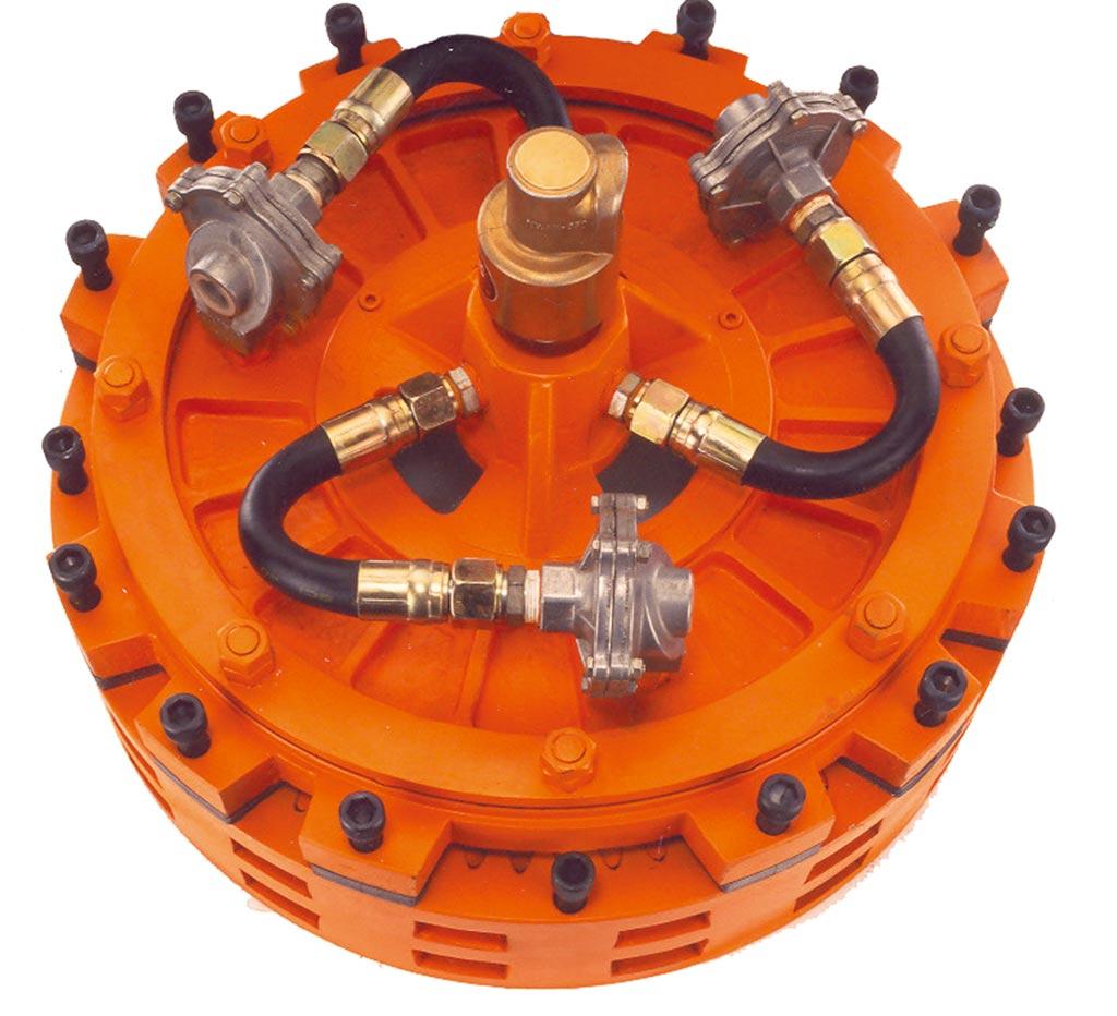 雍興精機生產的工業用煞車離合器馳名兩岸。圖/業者提供