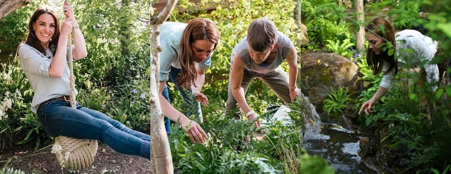 這次的「雀兒喜花展」凱特王妃也參與了設計,在花展中加入了繩索鞦韆、瀑布小溪和大岩石等設計。(圖/達志影像提供)