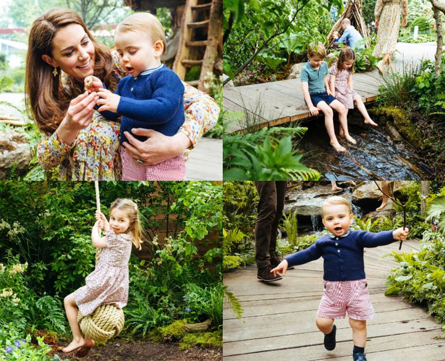 凱特搶先帶孩子參觀花園。(圖/達志影像提供)