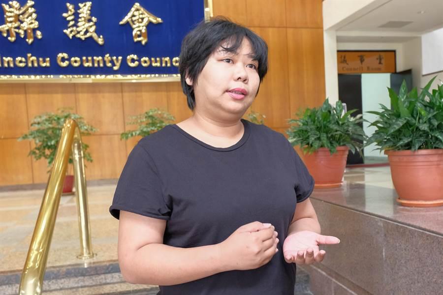 縣議員連郁婷指新竹縣某國小疑發生霸凌案,有教師將學生壓制在地達15分鐘,涉嫌強制罪。(羅浚濱攝)