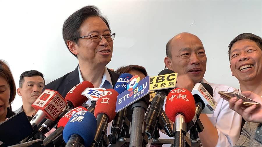 前行政院長張善政日前在新書發表會上,誇讚在高雄市長韓國瑜身上看見國家領導人特質。(柯宗緯攝)