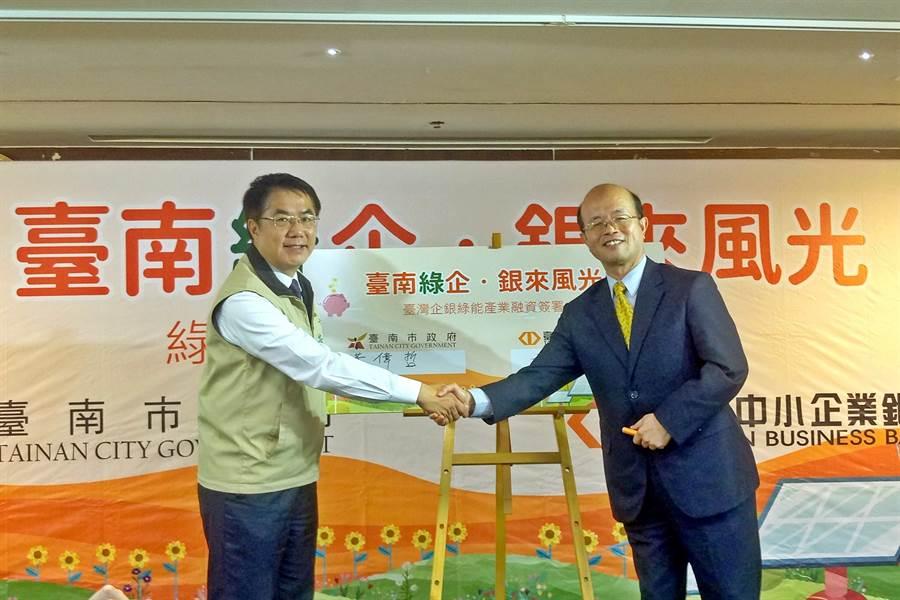台企銀董事長黃博怡(右)20日與台南市長黃偉哲(左)共同簽署綠能產業融資專案,力挺台南市綠能產業發展。(圖/台企銀)