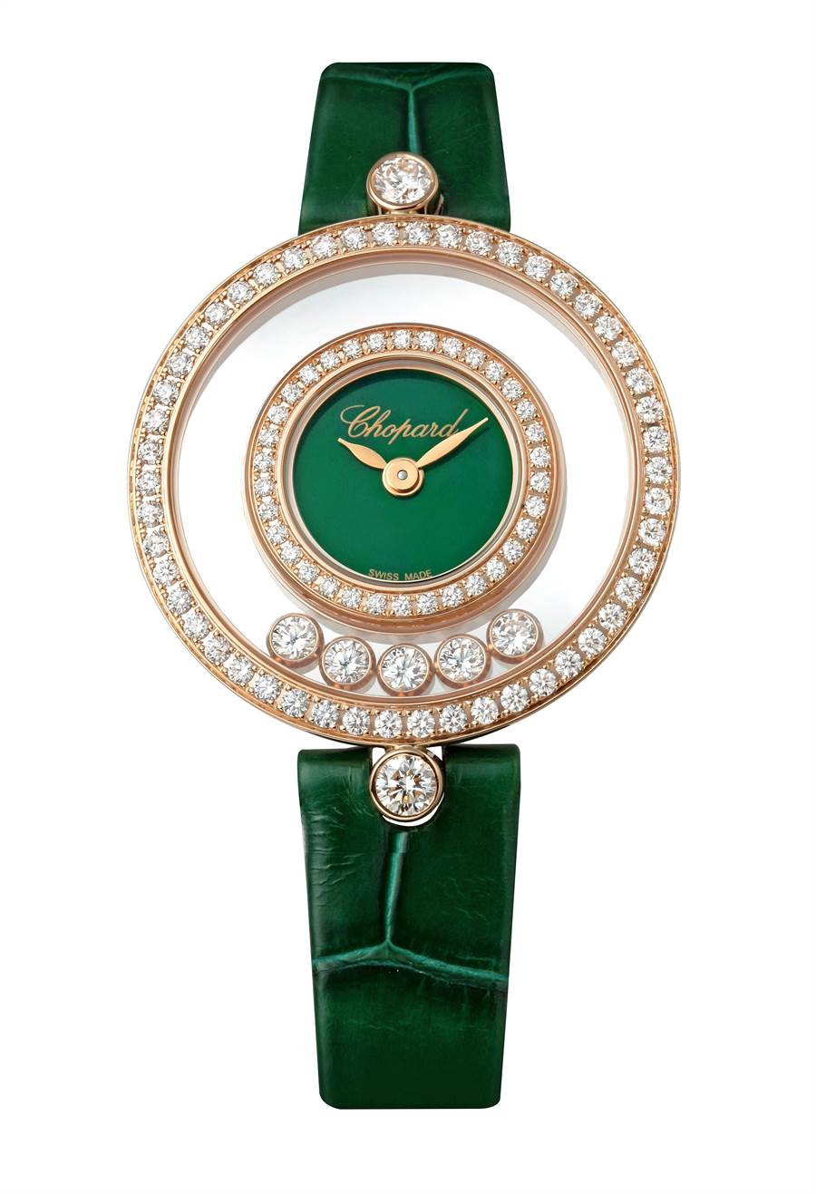 蕭邦Happy Diamonds珠寶表,5顆滑動鑽石,雙表圈鑲鑽,49萬8000元。(Chopard提供)