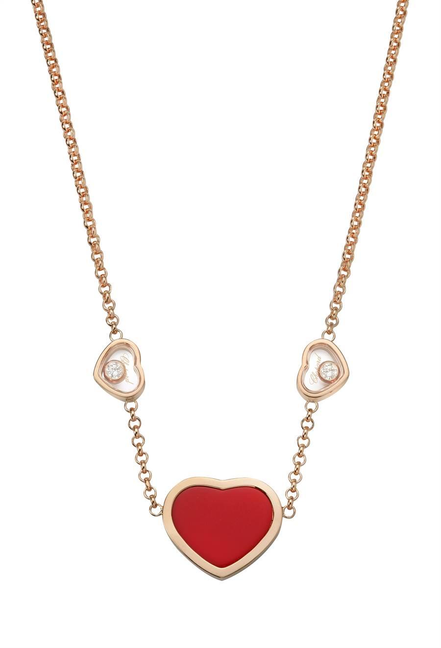 蕭邦Happy Hearts項鍊,滑動鑽石置身兩層透明藍寶石水晶之間,10萬8000元。(Chopard提供)