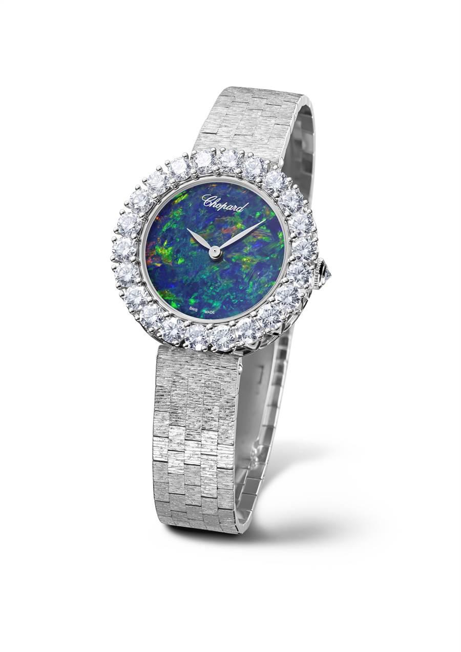 蕭邦L'Heure du Diamant珠寶表,蛋白石表盤,表圈鑲鑽,183萬6000元。(Chopard提供)