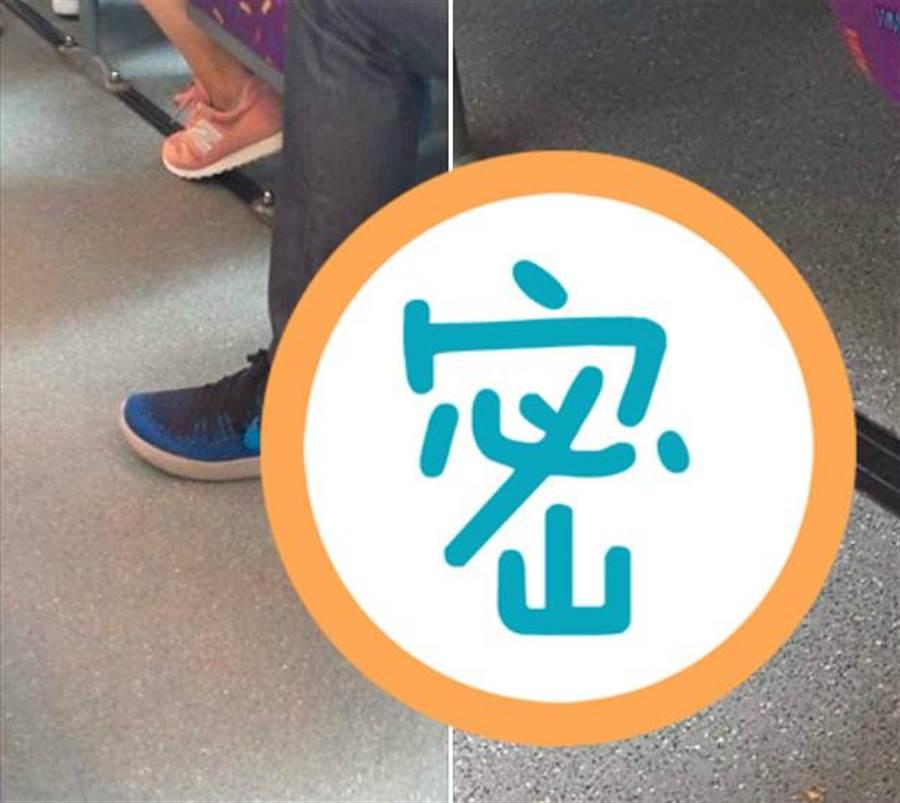 網友在車上驚見,鄰坐乘客褲管邊有異物掉出。(翻攝爆廢公社)