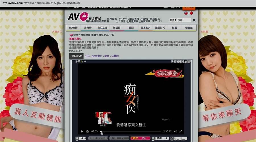 AVQ成人線上影音等網站向會員收費,提供盜版A片供觀賞,遭刑事局查獲。(警方提供)