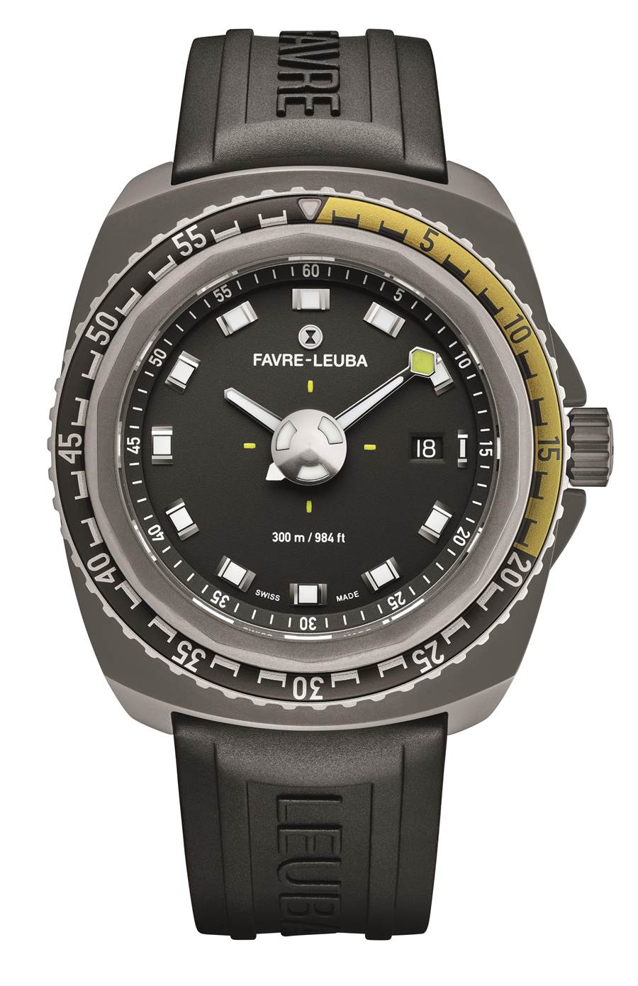 域峰表Raider系列Deep Blue Passion潛水表,採用今年最新黃色表圈和灰色表殼,售價7萬9000元。(Favre-Leuba提供)