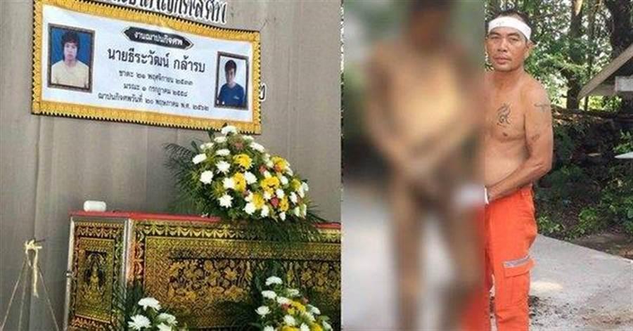 泰國媒體報導,有名泰男子死後封棺4年未腐,還可以站立與家人合照。(圖取自 Dailynews Online @DailynewsTwit)