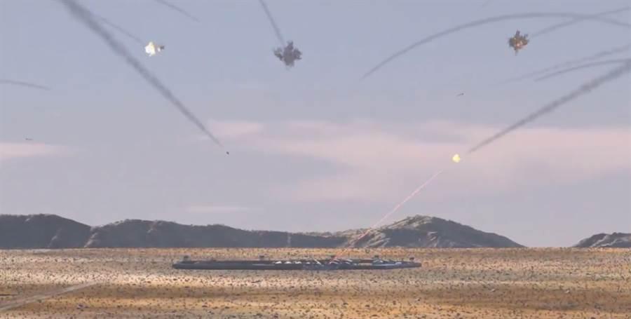 雷神展示雷射攔截飛彈影片,很像經典電玩飛彈指揮官的遊戲畫面。(圖/Raytheon)