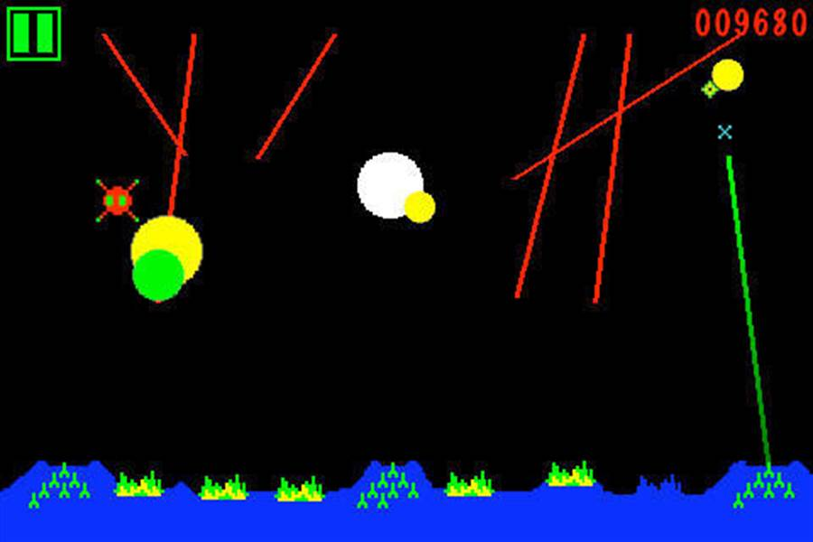 1980年的「飛彈指揮官」,天上會不斷掉來襲的飛彈,玩家要不斷的把飛彈擊落。(圖/網路)