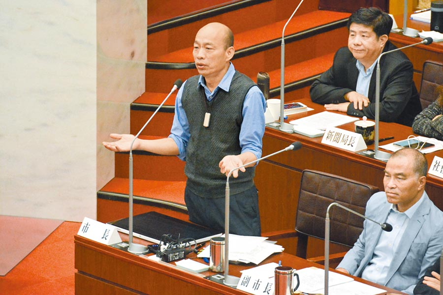 高雄市長韓國瑜21日在議會備詢。(林宏聰攝)