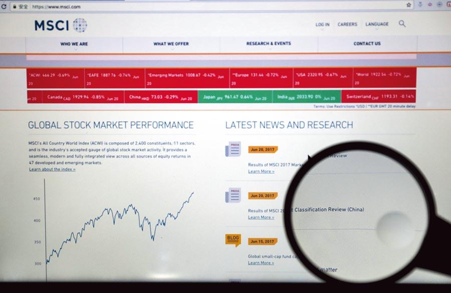 MSCI納A股不受外部因素影響。圖為MSCI網站。(新華社資料照片)