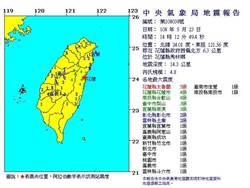 花蓮秀林規模4.8地震 最大震度5級