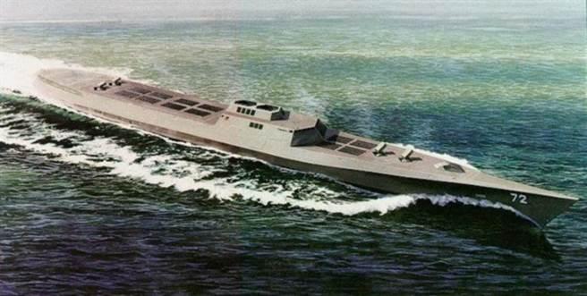 由美國國防部高等研究計劃署所發展出的武庫艦概念,相當於一個巨大的導彈平台,此計劃因經費緣故暫時擱置。(圖/網路)