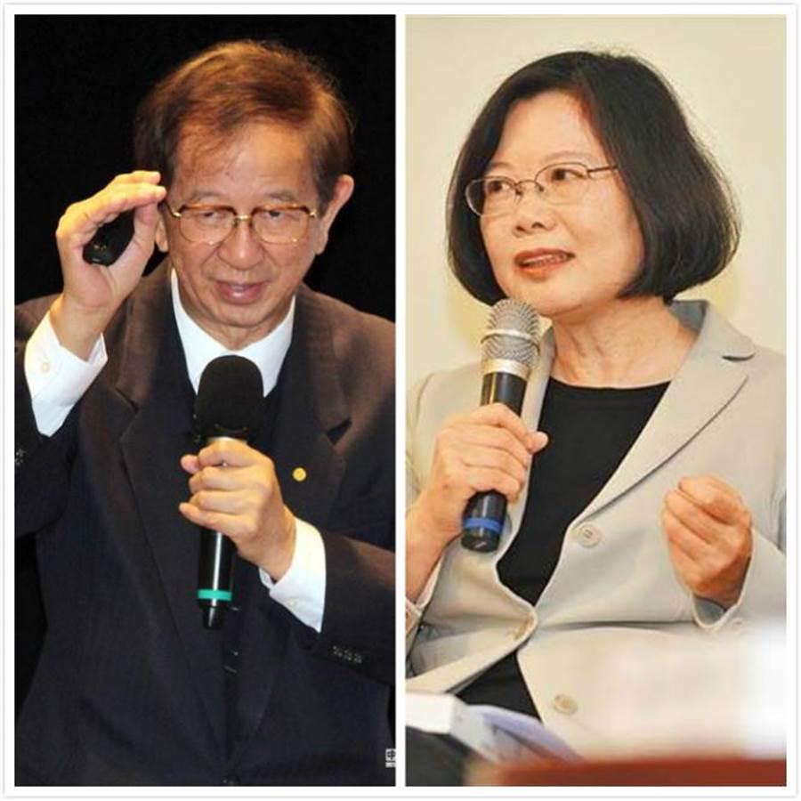 前中研院長李遠哲(左)表示,曾多次與蔡總統談解決空污及溫室氣體兩多問題,蔡總統一直回答「那是下一代的事」、「那是前朝的事」,讓他失望。(資料照片/中時)