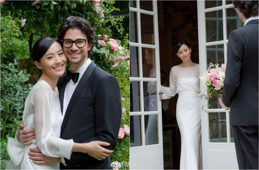 新婚的陳法拉昨首度曝光婚禮照。(圖/取材自陳法拉微博)
