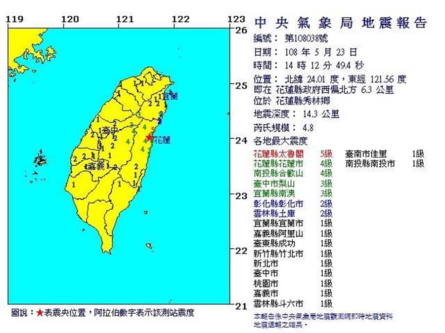 花蓮今天下午發生芮氏規模4.8有感地震,最大震度5級。(圖/取自氣象局網站)