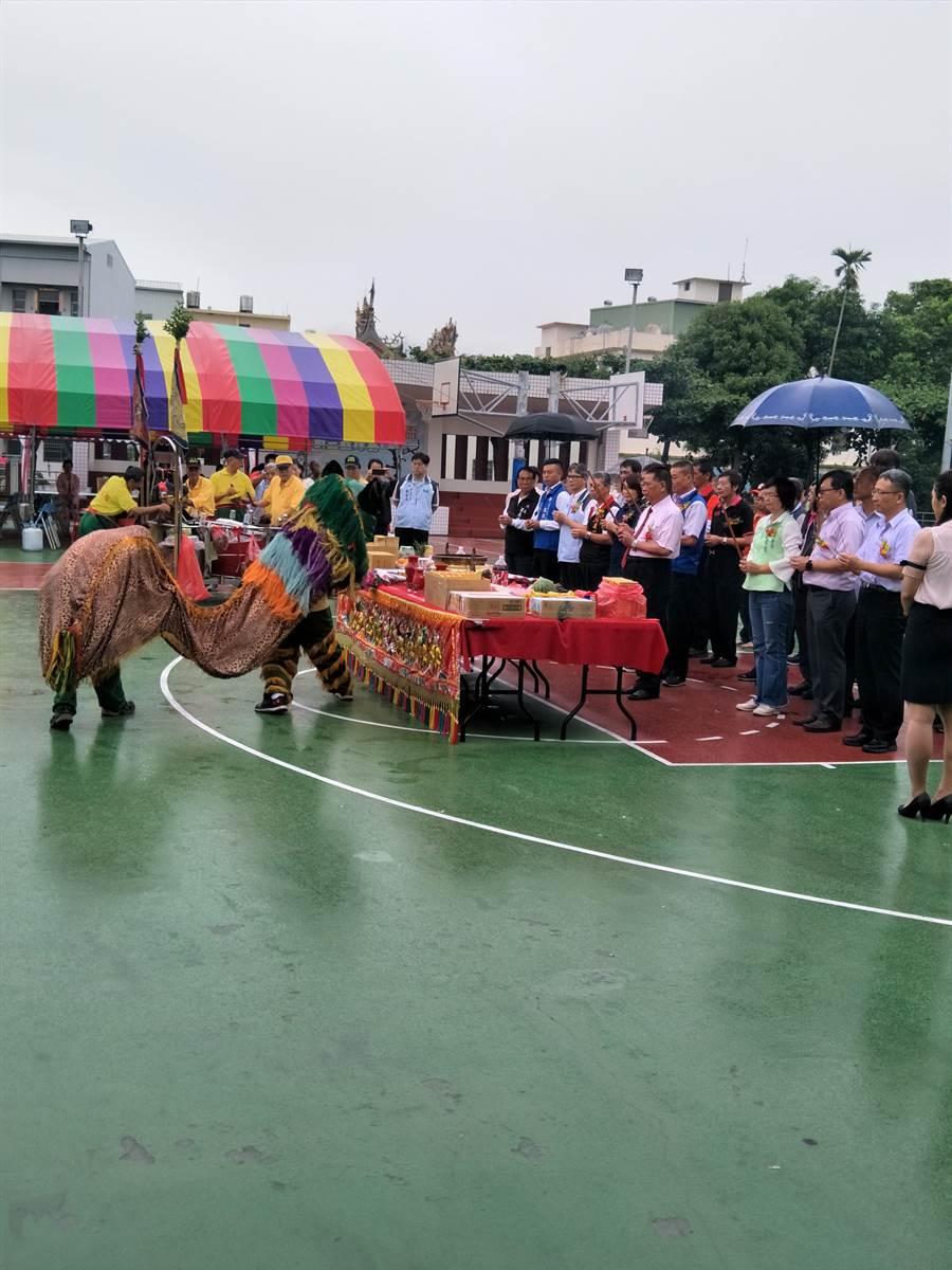 南彰化占地最廣的社頭運動公園,即將有風雨籃球場,工程於23日舉行開工動土典禮。(謝瓊雲攝)