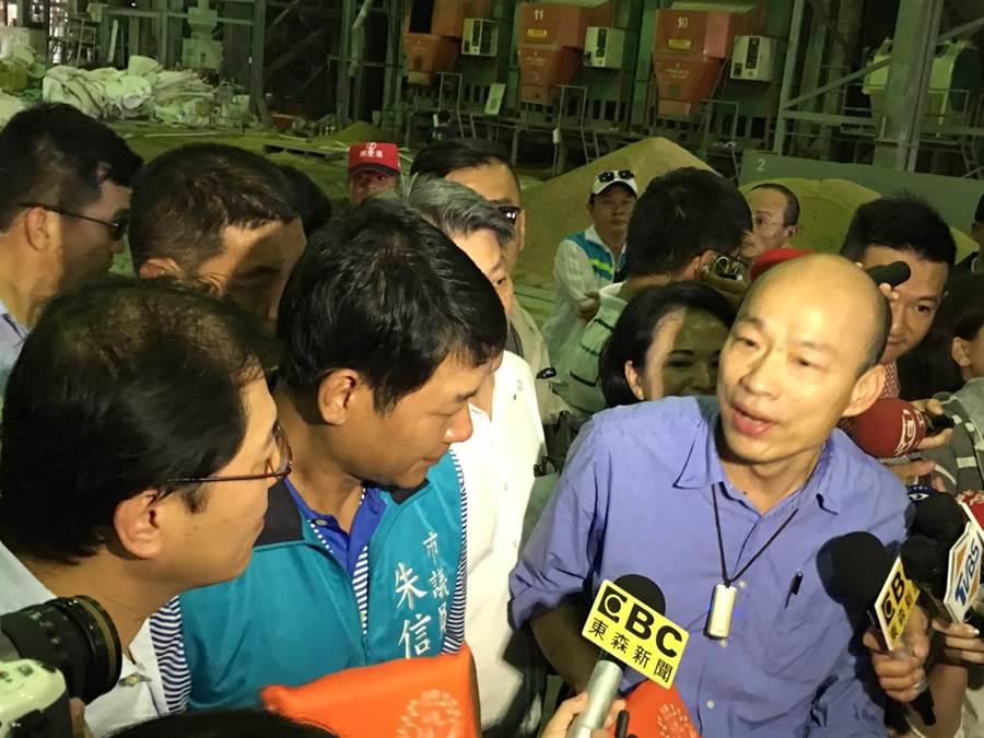 市長韓國瑜對黃光芹爆出賣楊秋興、3700謎題,呼籲黃拿出證據不要抹黑。(林雅惠攝)