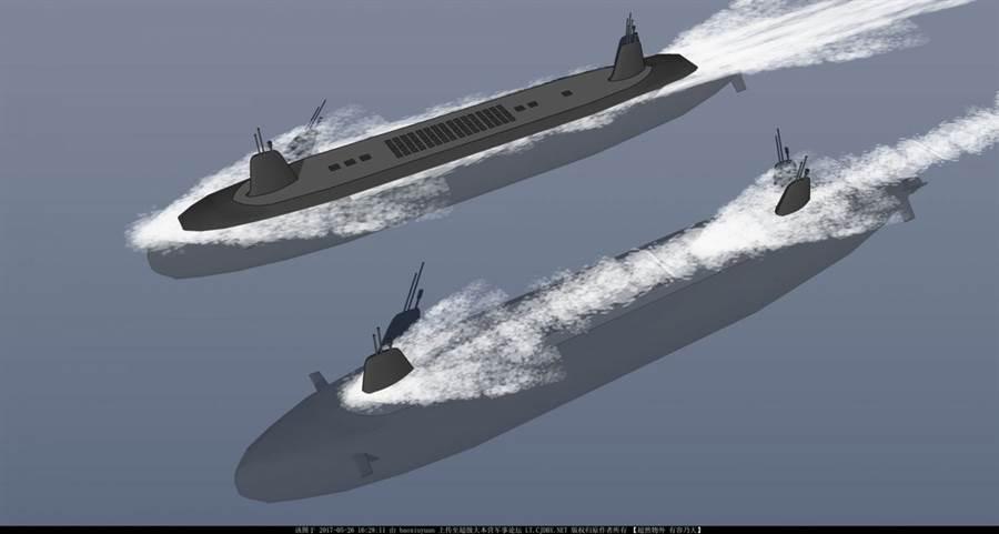 網上流傳可能是中共設計的半潛式武庫艦概念圖,擁有前後兩個艦島。(圖/推特@RCDefense)