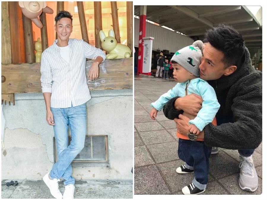鍾承翰陪兒子當奶爸。