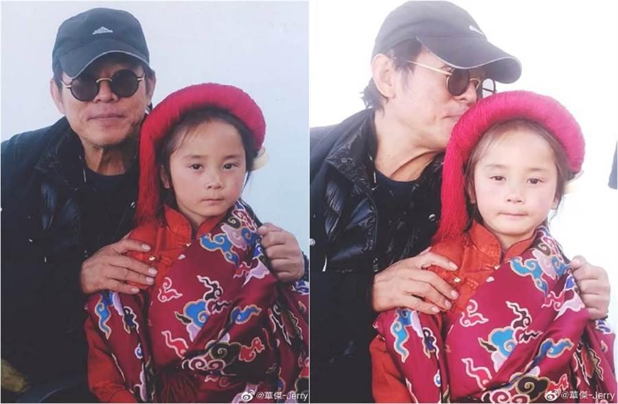 李連杰被網曝光與藏族小男孩合照。(圖/取材自華傑-Jerry微博)